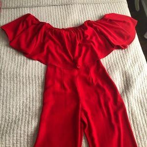 Zara off the shoulder red jumpsuit